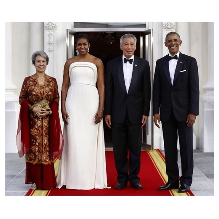 Michelle Obama Stuns In White State Dinner Dress